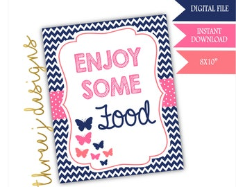 Butterfly Baby Shower Food Table Sign - INSTANT DOWNLOAD - Navy Blue, Pink and Coral - Digital File - J003
