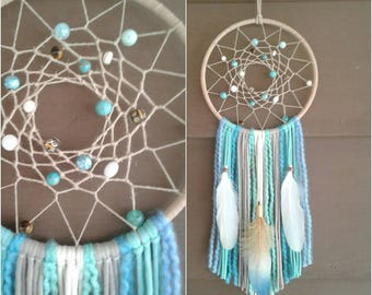 "Beach Dream catcher, 7"" Hoop Medium Dream catcher, Blue Dream catcher, Beach Dreamcatcher, Beach Decor, Nursery Decor, Nursery Dreamcatcher."