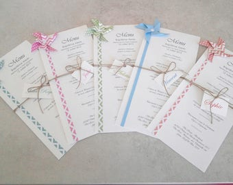 Menu and make up windmill origami patterned dots chevron for wedding table decoration - christening