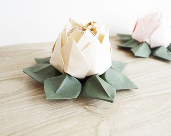 Ring bearer for wedding - ivory and green - rustic wedding chic origami lotus flower