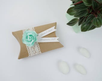 Sugared almonds wedding kraft pillow box lace + flower seagreen - thank you gift guests birthday, christening, wedding
