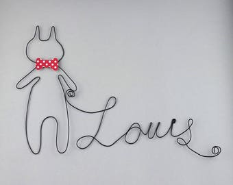 Name wire + cat - wall decor - nursery kids baby - Christmas handmade gift - birthday gift