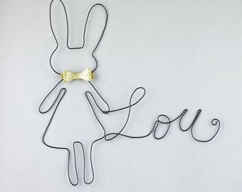 Name wire + rabbit - wall decor - baby room Kids Christmas gift girl - handmade - birthday gift