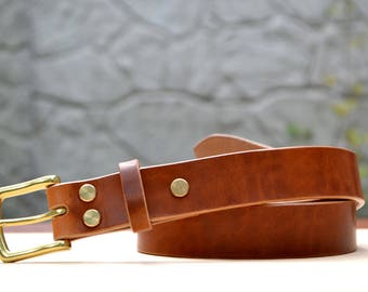 "1.25"" width English Tan Horween Dublin leather belt 