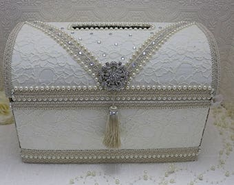 ivory card box, money box  for wedding/wedding card holder/ treasure chest money box/ivory wedding card box/wedding box