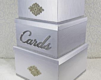 wedding card box, bling card box, wedding card holder, card box, card box for wedding, wedding gift box, three tier card box