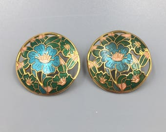 Round Cloissone Enamel Flower Gold Pierced Earrings - Vintage 1970s Asian Gold Earrings, Blue, Pink, Green, Gift for Her