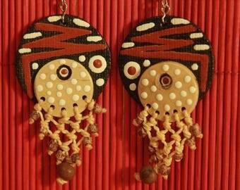 Boucle d'oreille brésilien en bois