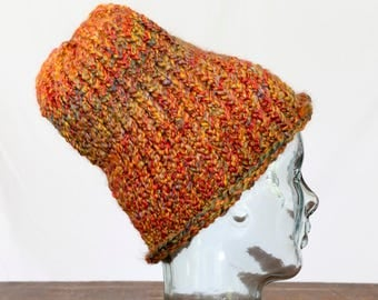 Adult Hand Knit Chunky Hat - Harvest