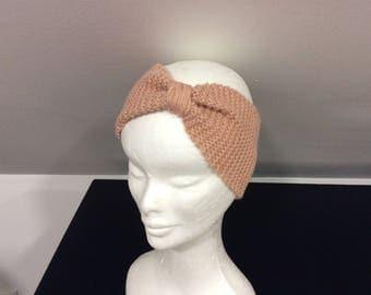 Headband... turban... Pink head band wool
