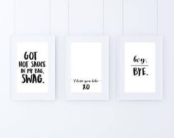 Beyonce x 3 A4 Prints - quotes, yonce, bedroom art