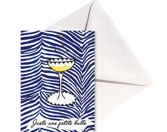 Card folded glass of champagne, white envelope.