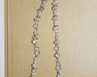 """14"""" Pink faux-crystal beaded necklace"""