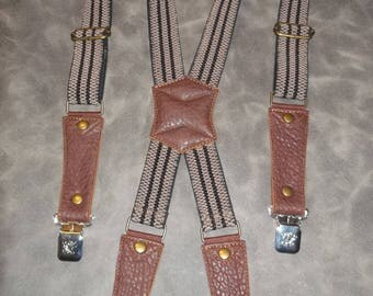 Leather Suspenders-brown. Handmade.Fits all sizes M-XXXXL