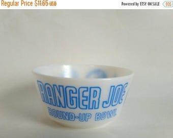 ON SALE Hazel Atlas Blue Ranger Joe Round Up Milk Glass Child's Cereal Bowl