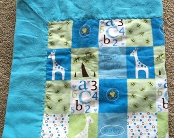 Blue and Green Little Buddy Giraffe Frog Baby Receiving and Swaddling Blanket