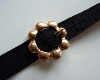 Flower copper metal belt buckle vintage matte