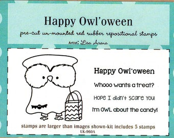 Happy Owl'oween Unity Rubber Stamp Set - Design by Lisa Arana - This stamp set contains 5 stamps - One treater-treating Owl and 4 sentiments