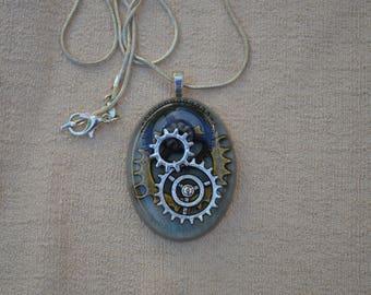 Steampunk Gears Necklace, Silver, Resin Jewelry