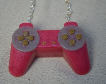 Pink Game Controller Necklace, Resin Jewelry