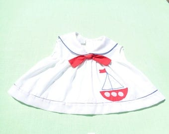 vintage baby girls nautical sailor dress size 0-3 months see measurements celanese fortrel polyester