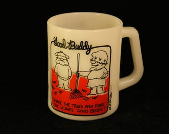 "Vintage ""Good Buddy"" White Milk Glass Coffee Mug Tea Cup Federal Glass Trucker Humor Novelty Gift Red and Black Pyro Print"