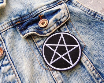 Round Pentagram Star Sew / Iron on Embroidery Patch Black White Wicca Pentacle Badges for Jeans T Shirts Custom Clothing UK New Ready to Use