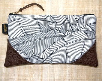 Large Black and White Banana Leaf Zipper Clutch / Zip Pouch with Zipper Pull or Leather Wristlet Strap