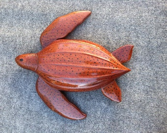 Mahogany Leatherback Turtle Carving