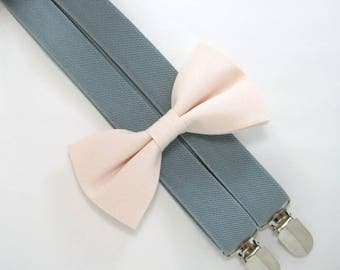Bow Tie and Suspenders-Blush Bow Tie and Gray Suspender set for Baby,Toddler and Boys, Suspender and bow tie set