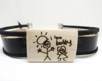 Childs Drawing Bracelet Faux Leather Engraved Wood Personalised Picture Handwriting Charm Mens Bracelet Gift For Dad Grandad Uncle From Kids