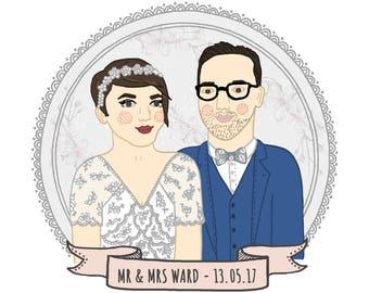 Custom wedding portrait, bride and groom print, anniversary gift, personalised wedding gift, wedding present, wedding illustration