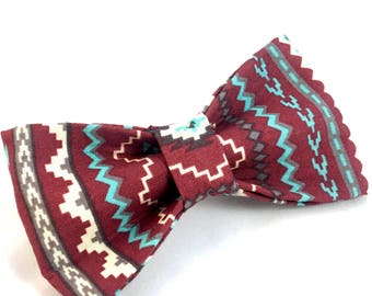 Merlot Red Aztec Boho dog bow tie - Red Tribal Dog Bow Tie - Aztec Boho bow tie - New Dog gift - Dog Bow Tie - Dog Mom gift - tribal bow tie