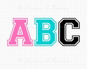 Buy 2 Get 1 Free! Digital Clipart Varsity Monogram Alphabet, silhouette modern font sport, stylish images png/eps/svg/dxf/studio cut files