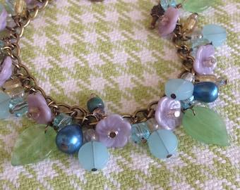Vintage Lavender flower bracelet