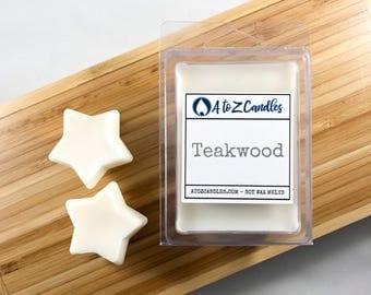 Teakwood Wax Melts, Woodsy Wax Melts, Soy Wax Melts, Teakwood Melts, Teakwood Scented, Soy Wax Melts, Wax Tarts, Vegan Wax Melts