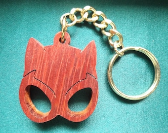 Cat Woman Keychain, Super Hero keyring, Comic Book Accessory, Gift for Her