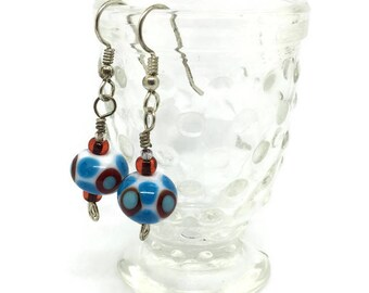 Red, White and Medium Blue Lampwork Earrings