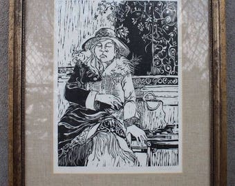 Vintage 1960's Woodblock Print Cafe Art Numbered 1/10 Signed Artist Signature