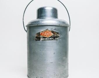 Vintage Insulated Picnic Jug, Vintage Jug, Cooler Jug, Drink Cooler, Glass Lined Thermos, Drink Thermos, Insulated Tumbler, Insulated Mug