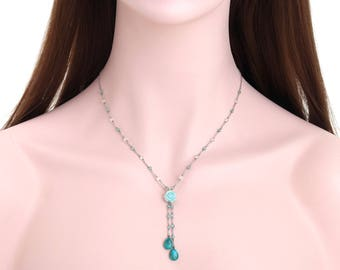 Amazonite flower detail necklace, Gemstone sensitive silver chain necklace, Rhodium plated 925 sterling silver necklace -jn67