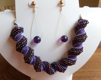 Purple Celini and Agate Statement Necklace