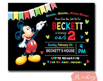 MICKEY MOUSE CLUBHOUSE Birthday Invitation, Mickey Mouse Birthday Party Invitation, Printable Mickey Mouse Invitation, Mickey Mouse Invite