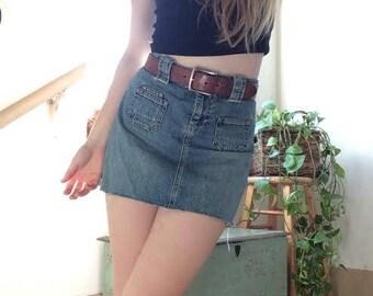90's Denim Raw Hem Mini Skirt sz 28
