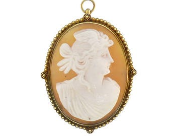 Victorian Etruscan 14K Gold Aurora / Eos Shell Cameo Pendant / Pin
