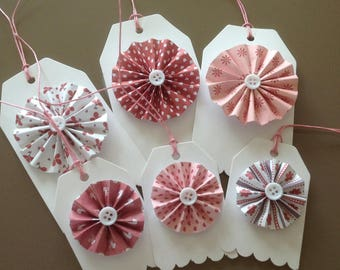 Set of 6 tags with rose color pink