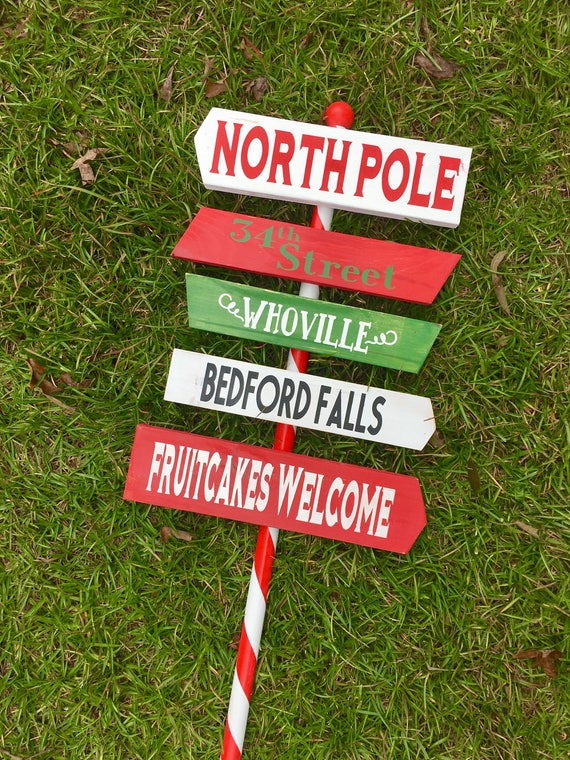 North pole sign yard sign inside outside city town outdoor for Outdoor christmas signs