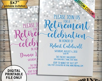 "Retirement Party Invitation, Retirement Celebration Invite, Retirement Invitation, Retire, Custom Color, Glitter-Style PRINTABLE 5x7"" Invite"