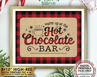 """Hot Chocolate Bar Sign, Lumberjack Sign, Warm Up at the Hot Chocolate Bar, Red Checker Hot Cocoa Bar, Instant Download PRINTABLE 8x10"""" Sign"""