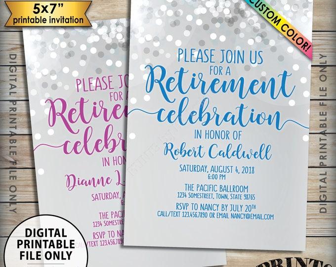"Retirement Party Invitation, Retirement Celebration Invite, Retirement Invitation, Retire, Custom Color, Glitter-Style PRINTABLE 5x7"" Invite"